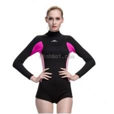 Áo Bơi Nữ Liền Quần Giữ Ấm Wetsuit (dày 2mm) Sbart - Hồng