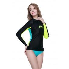 Áo Bơi Dài Tay Nữ Sbart 923 - Đen Tay Vàng Lưng Xanh