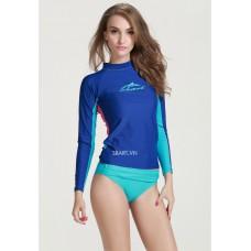 Áo Bơi Dài Tay Nữ Sbart 923 - Xanh Dương Lưng Hồng