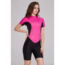 Bộ Bơi Liền Giữ Nhiệt (Wetsuit) Sbart 1055 Hồng Đen - Dài Tới Gối Dày 2mm