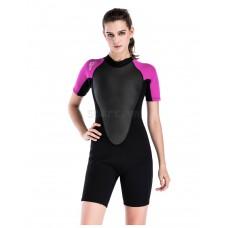 Bộ Lặn Nữ Wetsuit Sbart 1100 Dày 2mm Đen Hồng