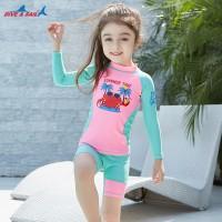 Bộ Bơi Trẻ Em Rời Dài Tay DS33 Hồng Xanh