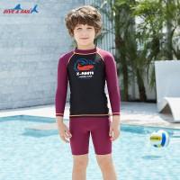 Bộ Bơi Trẻ Em Rời Dài Tay DS35 Đen Tay Maroon