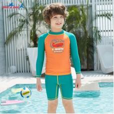 Bộ Bơi Trẻ Em Rời Dài Tay DS35 Cam Tay Xanh